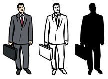 Man with Briefcase. JPG and EPS. An Illustration of a Man with Briefcase, Black & White Image and Silhouette included. JPG and EPS Stock Photos