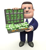 Man with briefcase of money Royalty Free Stock Photography