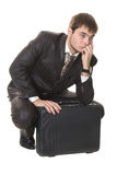 Man with briefcase thinking about their problems Stock Photo