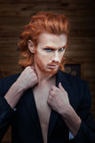 Man with a bright fiery hair. Royalty Free Stock Images