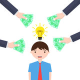 Man with bright idea gets money offers Royalty Free Stock Images