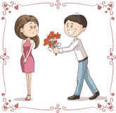 Man Brings Flowers to Shy Woman Vector Cartoon Stock Images