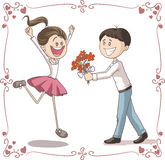 Man Brings Flowers to Shy Woman Vector Cartoon Royalty Free Stock Photography