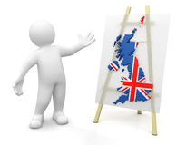 Man and British map (clipping path included) Stock Photos