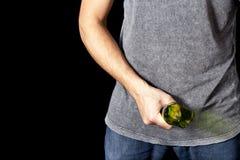 Man with broken beer bottle. Man holding broken beer bottle as weapon royalty free stock photo