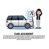 Man With Broken Car Over Background With Copy Space Accident On Road Concept. Flat Vector Illustration Royalty Free Stock Photos