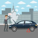 Man with broken car. Man with broken car`s engine asking for help on the road Royalty Free Stock Image