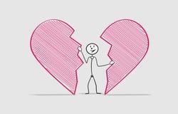 Man and broken heart Stock Image