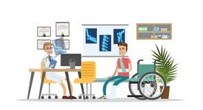 Man with broken leg and arm with trauma surgeon. stock illustration