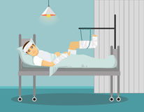 Man with broken leg and hand in Hospital. Vector illustration. Stock Photo