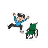 Man broken leg plaster cast wheelchair. Man broken leg jump off wheelchair Royalty Free Stock Photography