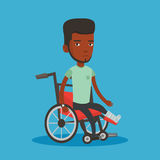 Man with broken leg sitting in wheelchair. Royalty Free Stock Images