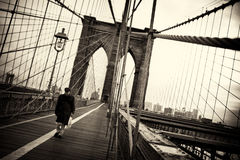 Man on Brooklyn Bridge - Vintage Style Royalty Free Stock Photo