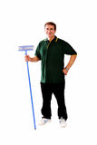 Man with broom. Ready for work Royalty Free Stock Photo
