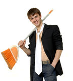 Man with Broom. Man in tie with broom Stock Photo