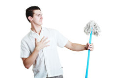 Man with broom Royalty Free Stock Photo