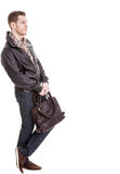 Man with brown bag Stock Photos