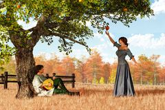Couple at the Apple Tree stock illustration