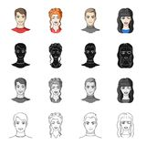 Man, brown, haired, and other web icon in cartoon style.Beauty salon, cosmetology, icons in set collection. Man, brown, haired, and other  icon in cartoon style Royalty Free Stock Images