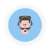 A man with a brown mustache in headphones with a microphone. Flat icon. Stock Image