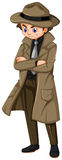 Man in brown overcoat and hat. Illustration Royalty Free Stock Photo