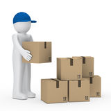 Man brown package Royalty Free Stock Photo