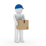 Man with brown package Stock Images