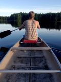 Man in Brown Tank Top on Boat Holding Paddle on Calm Water With Green Tall Trees during Daytime Royalty Free Stock Photos