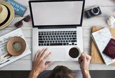 Man Browsing Laptop Internet Concept Stock Photos