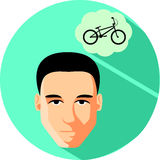 Man brunette dreams of a bicycle. Flat Style. Trendy teenager on. A green background Royalty Free Stock Photos