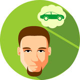 Man brunette dreams of a car. Flat Style. Fashionable man with b. Eard, hipster on a green background Royalty Free Stock Photography