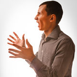 Man brunette experiencing anger emotions, Stock Photos