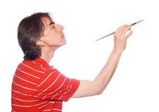 Man with brush Royalty Free Stock Photo