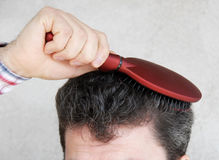 Man brushing hair Stock Images