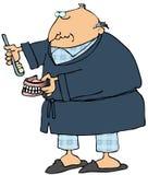Man Brushing His False Teeth stock illustration
