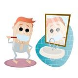 Man brushing his teeth Royalty Free Stock Photos
