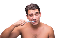 The man brushing his teeth isolated on white Royalty Free Stock Photography