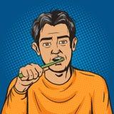 Man brushing his teeth morning pop art vector Royalty Free Stock Photos