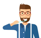 Man brushing teeth Stock Photo