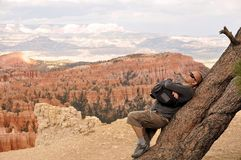 Man on Bryce Canyon Royalty Free Stock Image