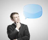 Man with  bubble speech Royalty Free Stock Image
