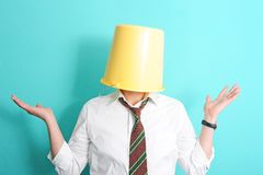 Man with bucket on his head Royalty Free Stock Photo