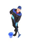 Man with bucket and mop. Stock Photo
