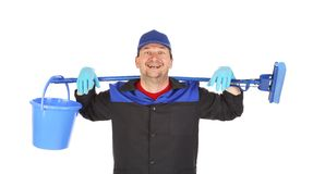 Man with bucket and mop. Royalty Free Stock Photography