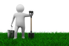 Man with bucket and shovel on grass. Isolated 3D image Stock Photography