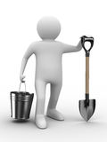 Man with bucket and shovel on white background Royalty Free Stock Images