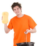 Man with a bucket and a sponge Stock Photo