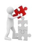 Man build puzzle on white. 3D image vector illustration