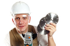 The man, the builder, in goggles Royalty Free Stock Photos