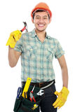 Man builder portrait with tool Stock Image